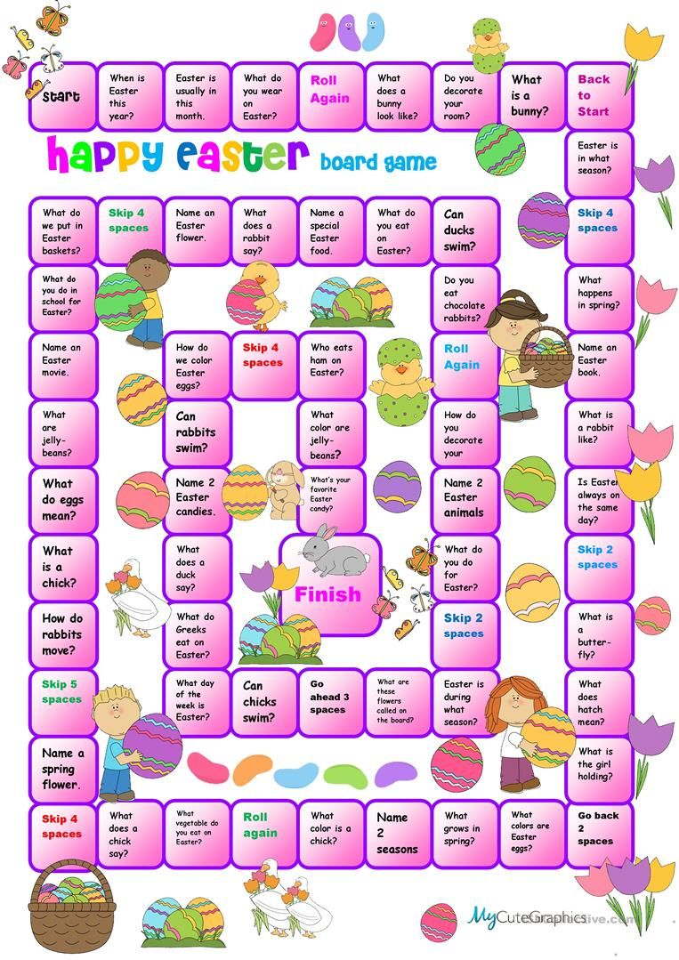 Easter Boardgame for Beginners worksheet Free ESL