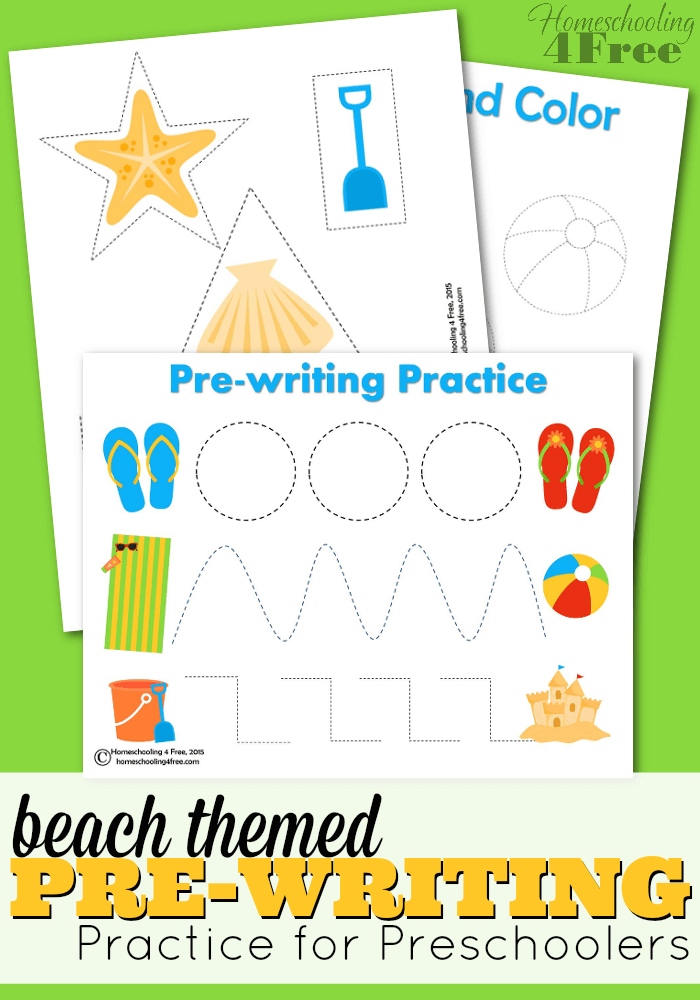 Beach Themed Pre Writing Practice For Preschoolers Perfect When You Re Stuck Inside On A Rainy Day Beach Theme Preschool Pre Writing Practice Preschool Themes