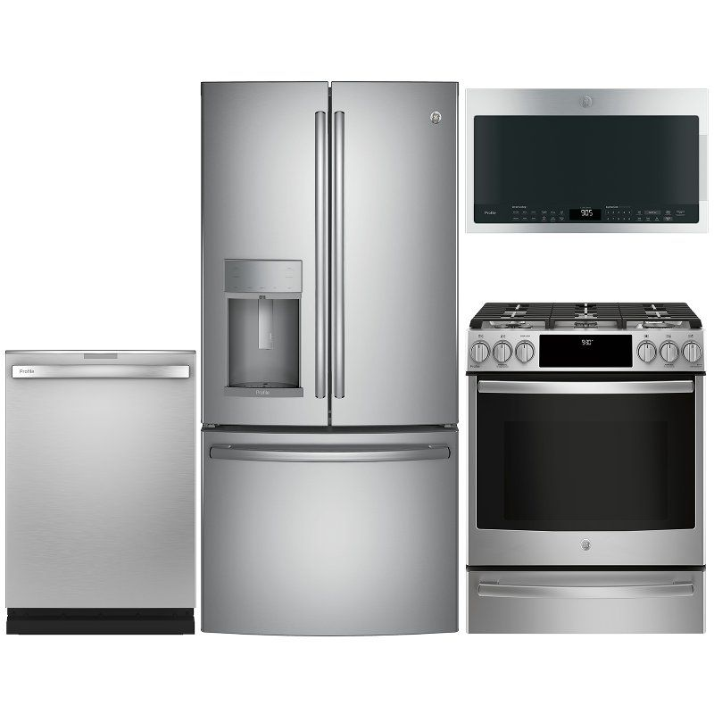Ge Profile 4 Piece Gas Appliance Package With French Door Refrigerator Stainless Steel Appliance Packages Stainless Steel Refrigerator French Door Refrigerator