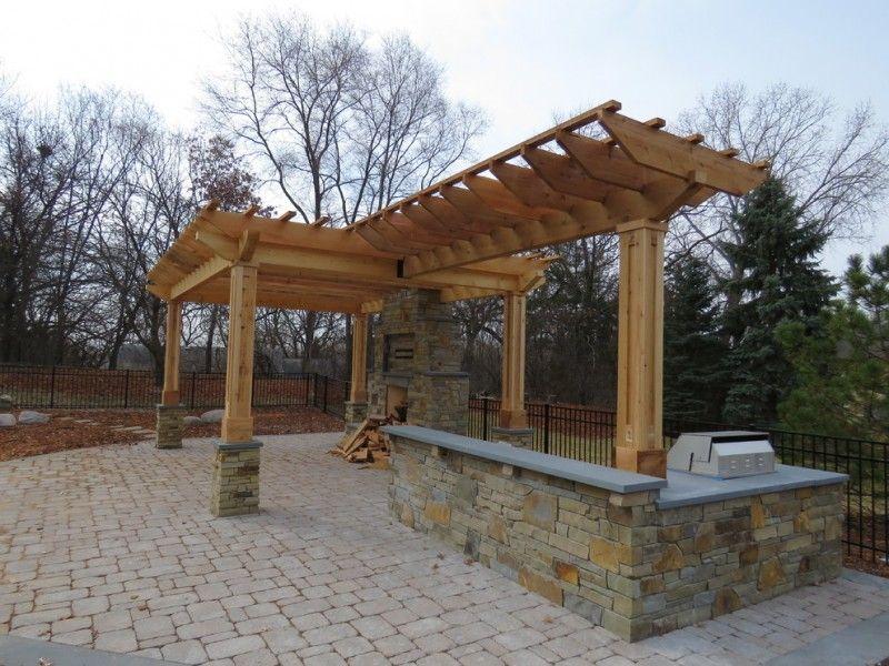 t shaped pergola made of cedar brick pavers floors on Brick Pergola Designs id=26767