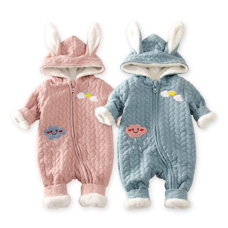 0732722c10c7 Baby Infant Winter Cotton Plush Snowsuit Zipper Design Newborn Baby ...