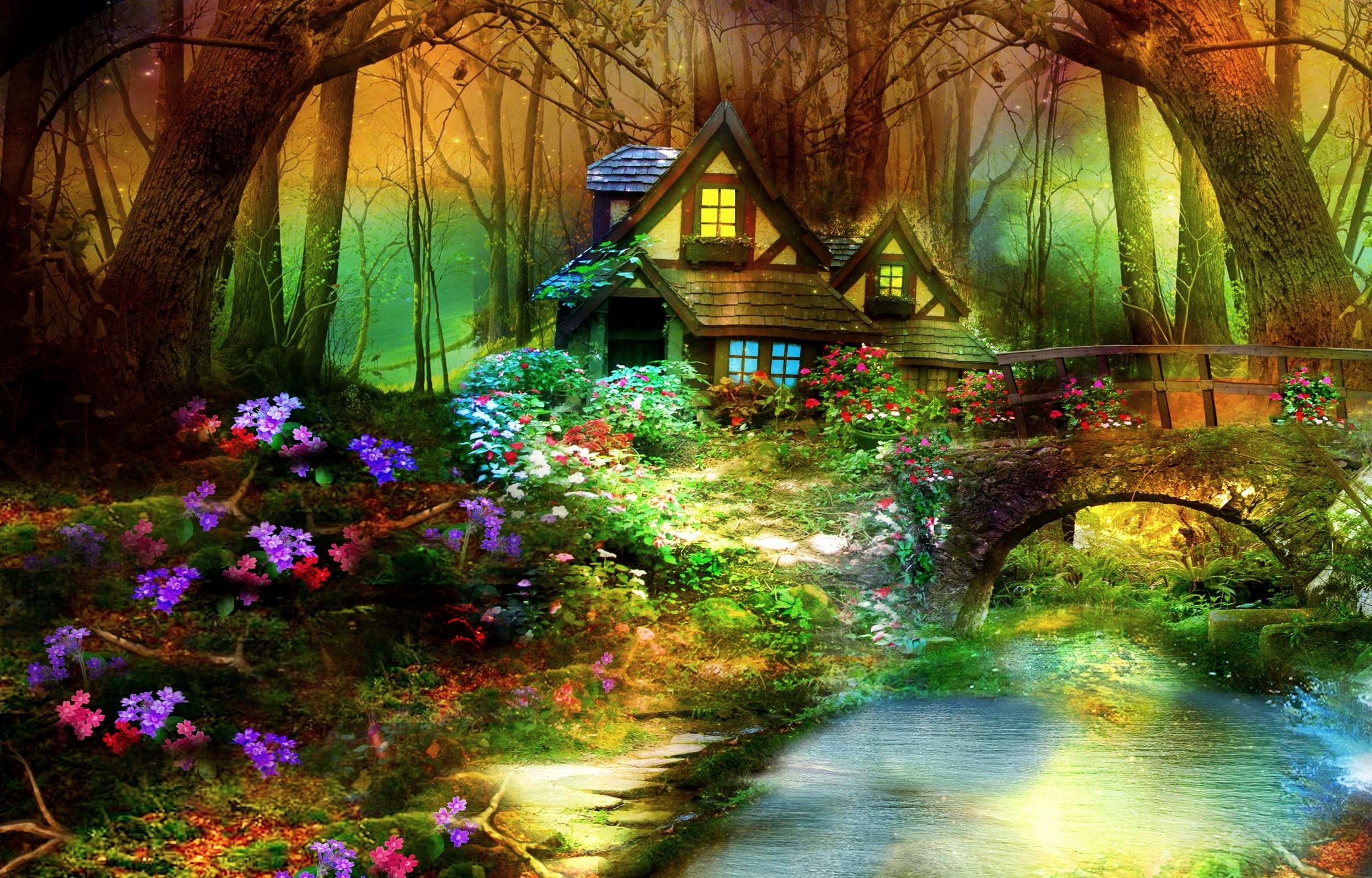 Forest Wallpaper 3d Nature Bridge Spring Fantasy