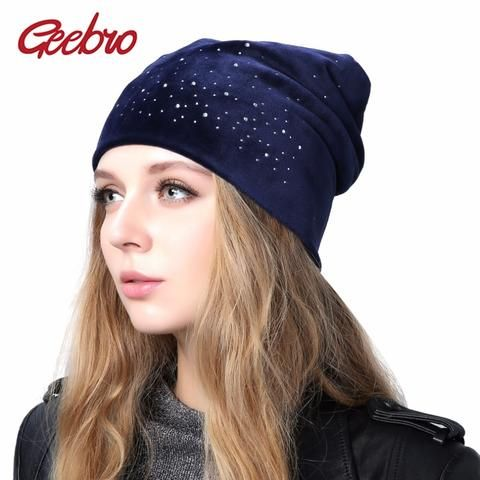 8dc189c23297f2 Geebro Women's Velour Rhinestones Beanies Hat 2018 Spring Polyester Slouchy  Beanie for Women Plain Color Skullies Bonnet Cap