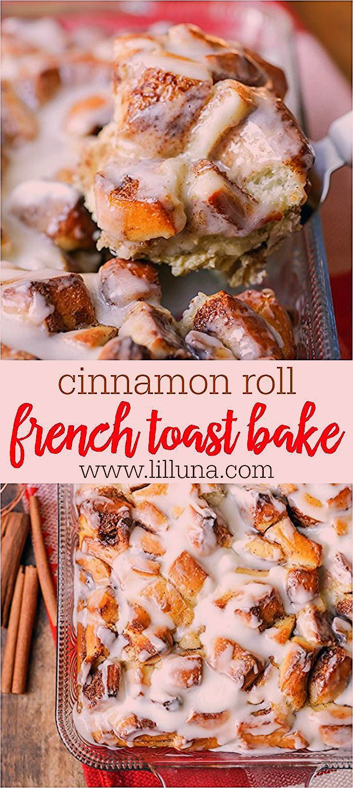 Photo of Easy Cinnamon Roll French Toast Bake (+VIDEO) | Lil' Luna #frenchtoastcasserole …