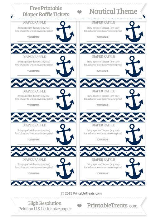 Free Navy Blue Chevron Nautical Diaper Raffle Tickets Baby shower