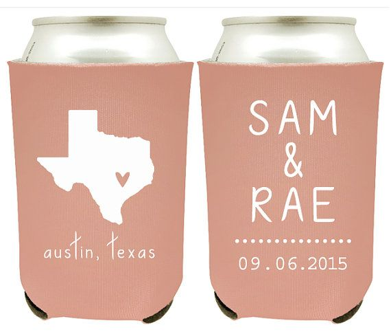 Personalized State Pride Texas Wedding Can Coolers Custom