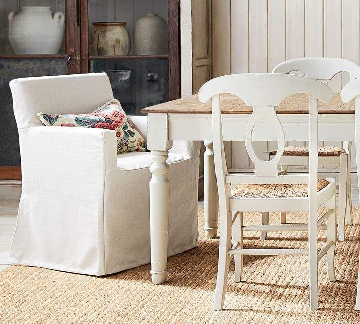 Pottery Barn PB Classic Long Slipcovered Dining Chairs in ...