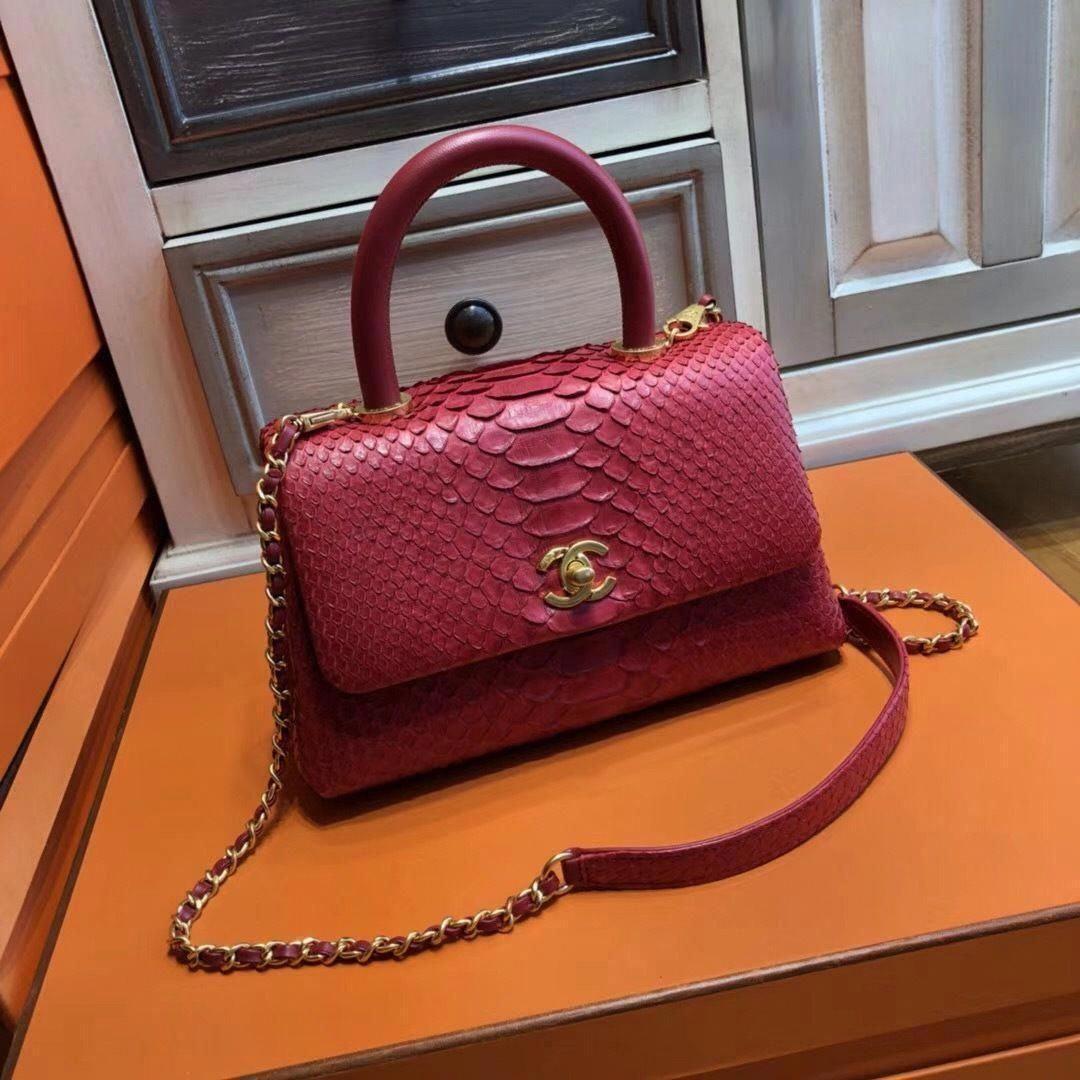 ac777cf50db2 Chanel Red Python Flap Bag with top handle - Bella Vita Moda #CHANEL  #CHANELBAG