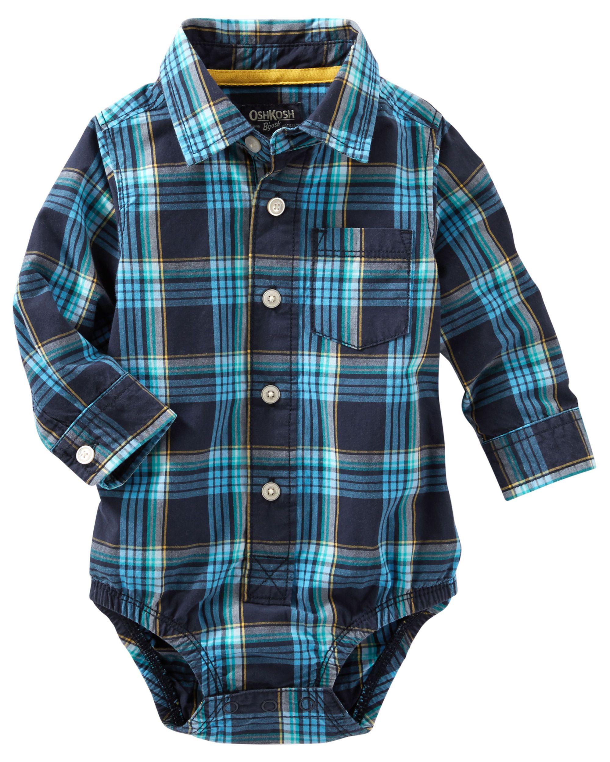 Plaid Button-Front Bodysuit   Bodysuit, Babies and Babies clothes
