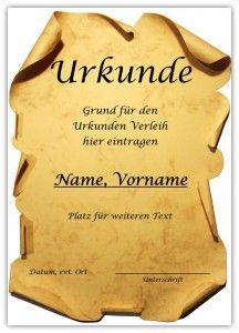 Urkunde - kostenlose Vorlage Eine klassische Urkunde so wie man sie ...