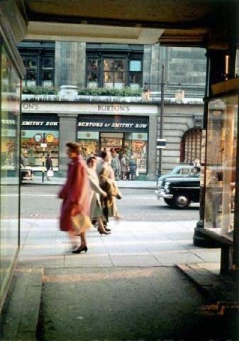 Burton's of Smithy Row, Nottingham, from Greyhound Street, 1950s.