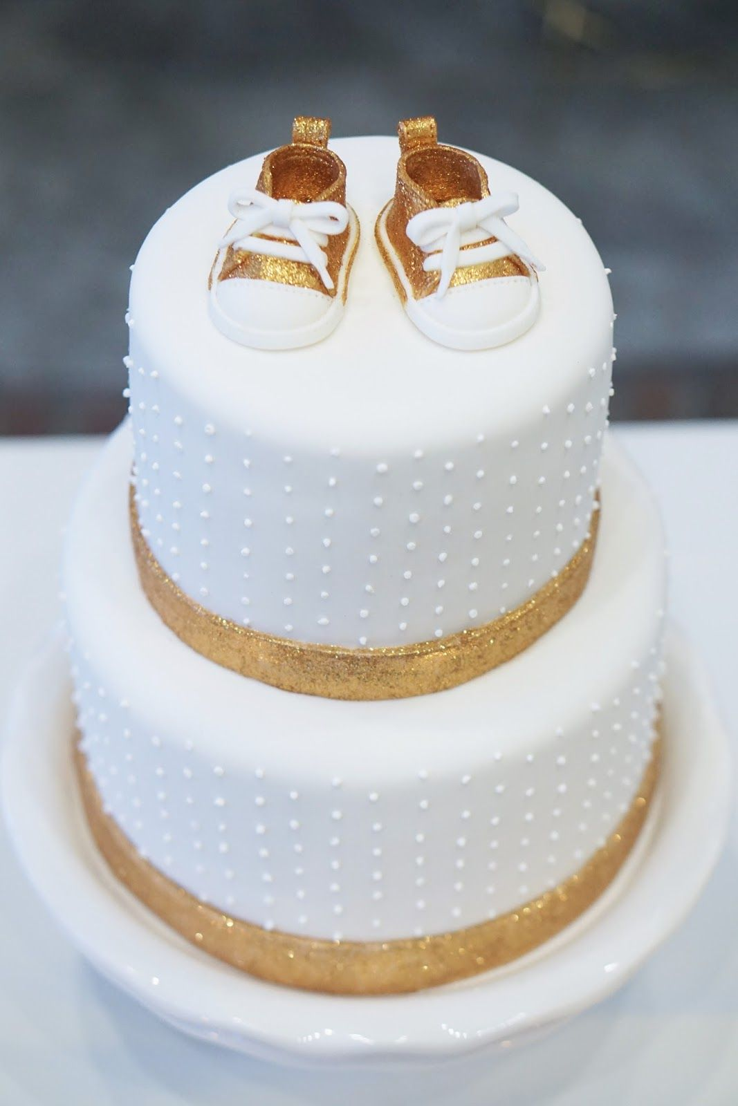 White and Gold Baby Shower Cake