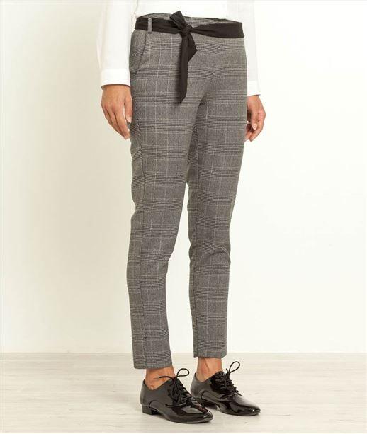 Pantalon femme 7 8 imprim carreaux gris mode for Pantalon homme a carreaux