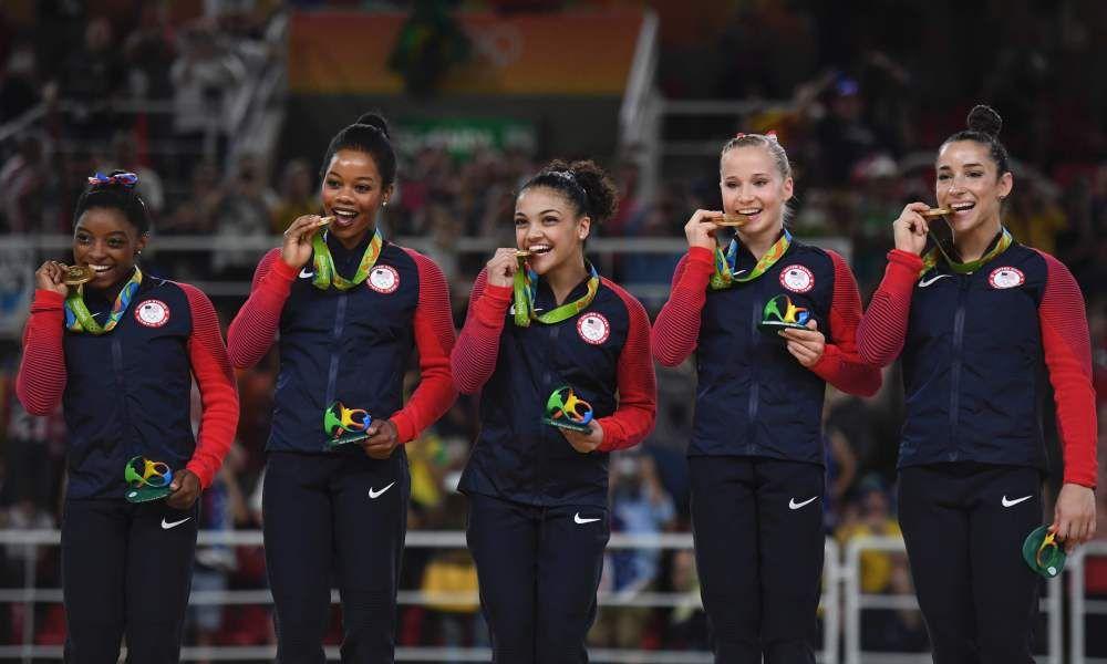 Artistic gymnastics team final women´s olympic 2016 vanns av USA p 184.897, silver Ryssland p 176.688, brons Kina p 176.003.