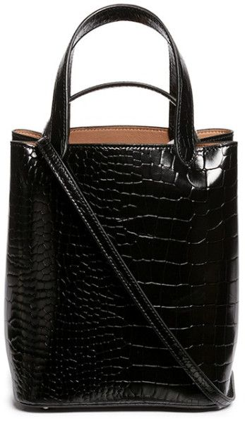 Women s Black Croc Embossed Mini Leather Bucket Tote  eef0ed6fb8742