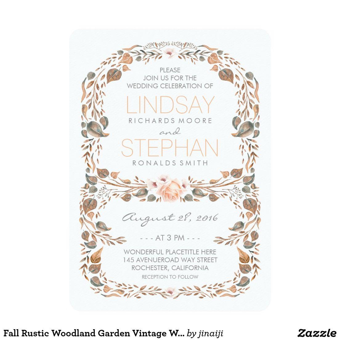 Fall Rustic Woodland Garden Vintage Wedding | Wedding Invitations ...
