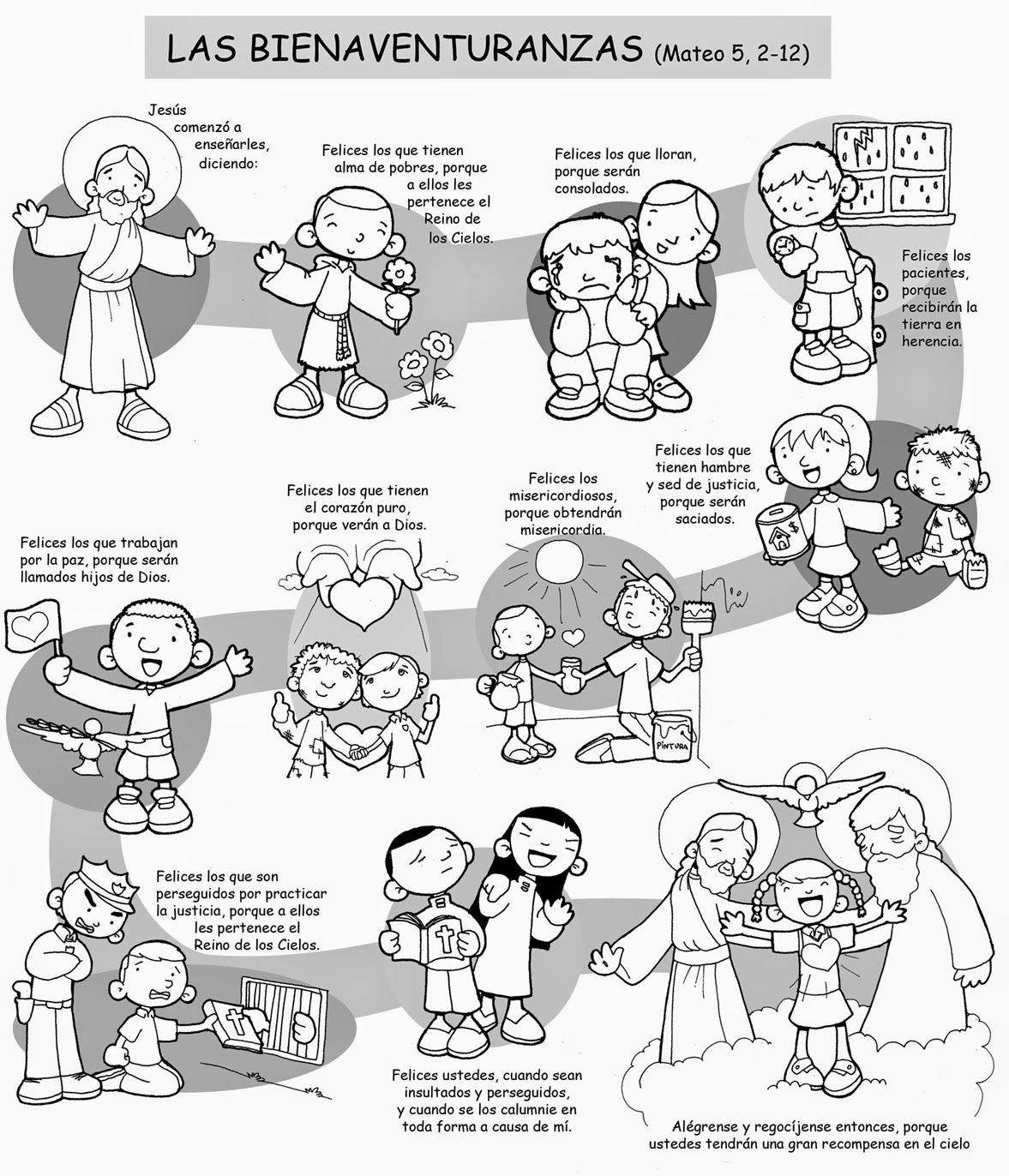 Dibujos para catequesis: LAS BIENAVENTURANZAS (Mateo 5, 2-12 ...