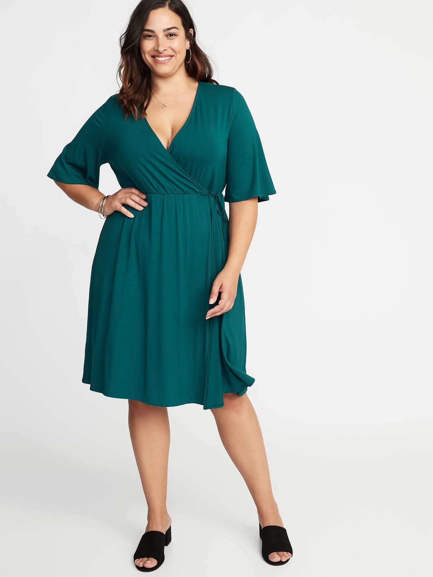 Waist-Defined Plus-Size Wrap-Front Dress in 2019 | Navy plus ...