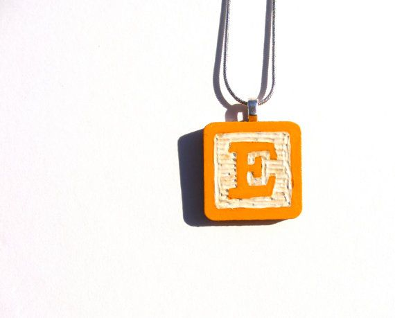 Initial Vintage Style Baby Block Pendant Hand by calicocity, $28.00