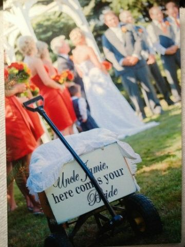 Custom wedding sign: Here comes the Bride for James & Crystal, Aug 24, 2013.  Sign completed by Dressing Room No. 5 in Aylmer, ON.  We are on Etsy.
