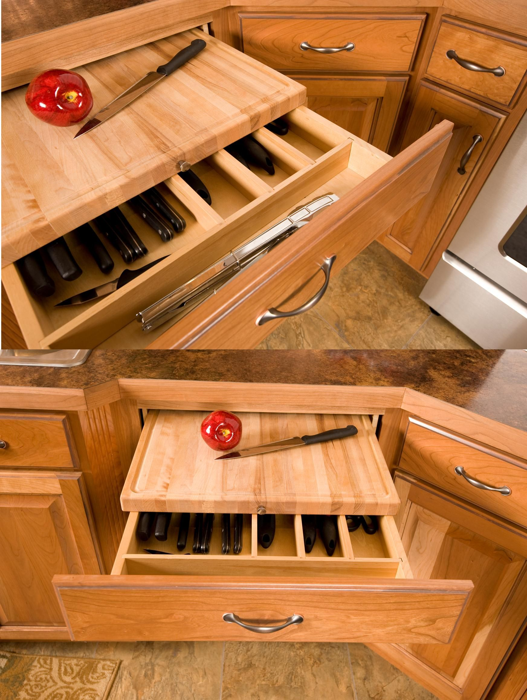 Easy storage with a pull out cutting board right above your knives