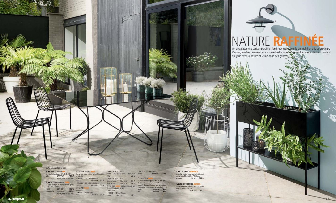 Collection Nature Raffinee Du Catalogue Ampm Printemps Ete 2018 Table D Exterieur En Metal Noir Et Verre Fume Amenagement Terrasse Terrasse Idees De Patio