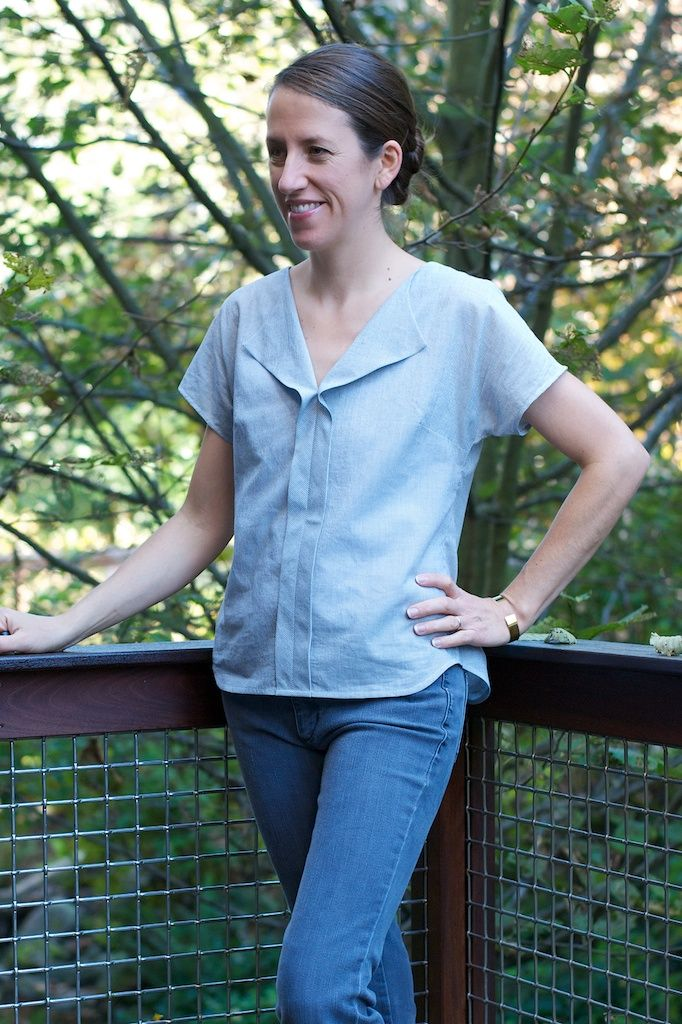 Liesl + Co. escapada de fin de la blusa de rayas Voile - Cut Cut Sew