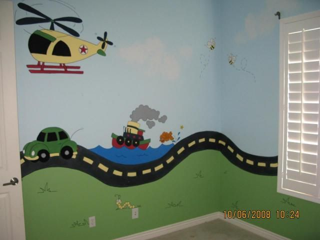 bedroom wall paint helicopter boat car road inchworm Phoenix home ...
