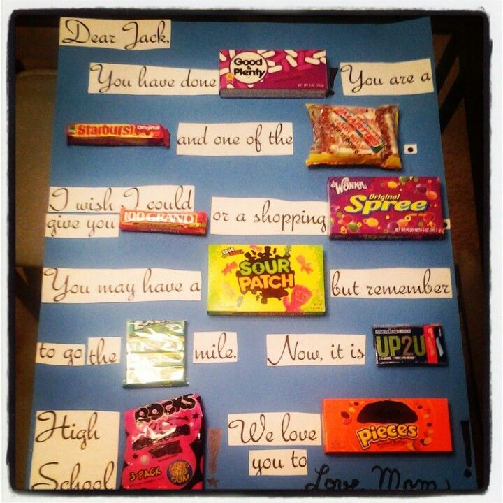 I just made this Candy gram for my son's middle school graduation ...