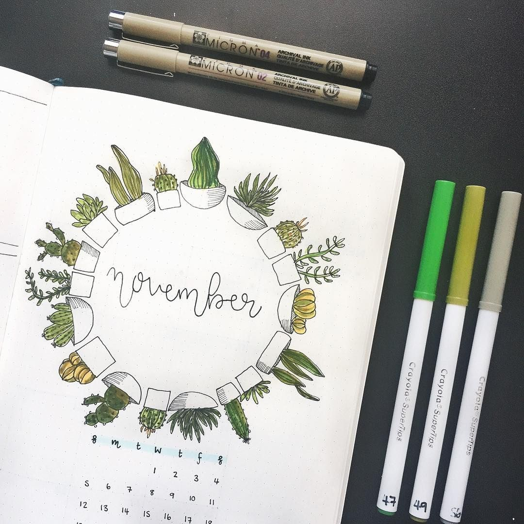 bullet journal monthly cover page  november cover page  plant bullet journal theme  plant