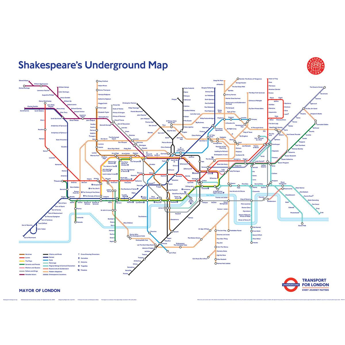 Transport For London Map.Shakespeare S 400th Anniversary Tube Map London Transport Museum