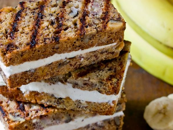 Grilled Banana Bread Ice Cream Sandwiches