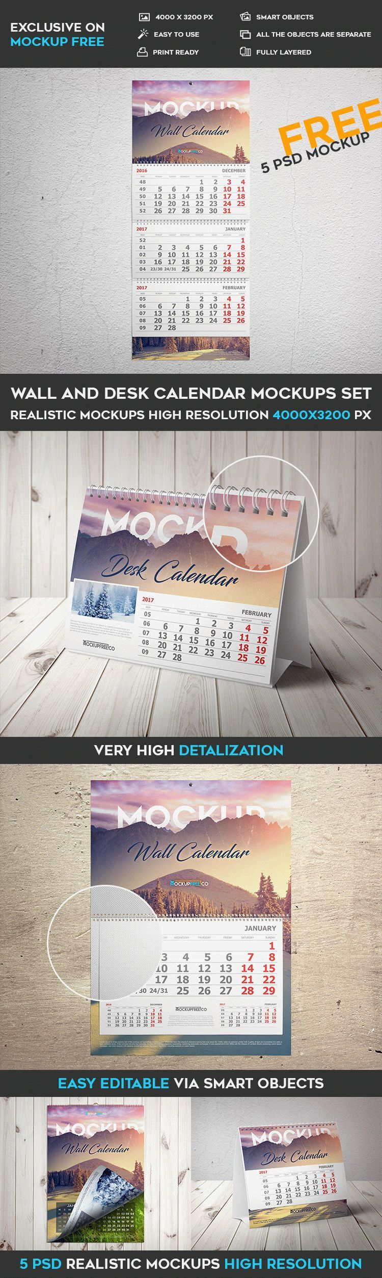 Wall And Desk Calendar Mockups Set 5 Free Psd Mockups Free Psd