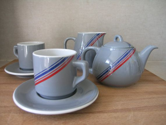 Vintage Retro Ceramic Porcelain Tea Set Made By Acf By