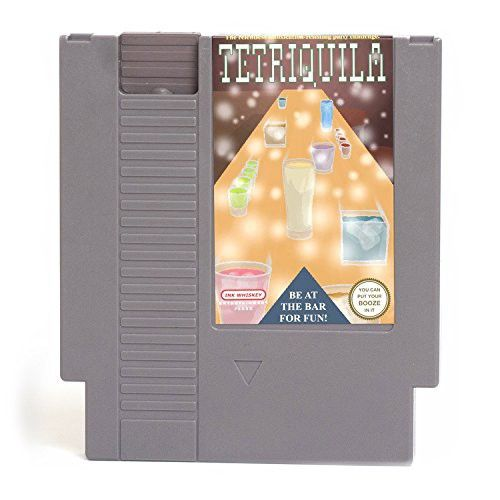 Concealable NES Entertainment Flask - Looks Like a Retro Nintendo Video Game Cartridge - But It's a Flask with a Hilarious Label (Tetriquilla - Tetris)