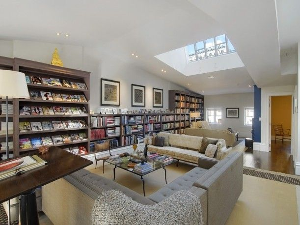 Loft-like space -  Library > Jessica Parker and Matthew Broderick < Manhattan, NY