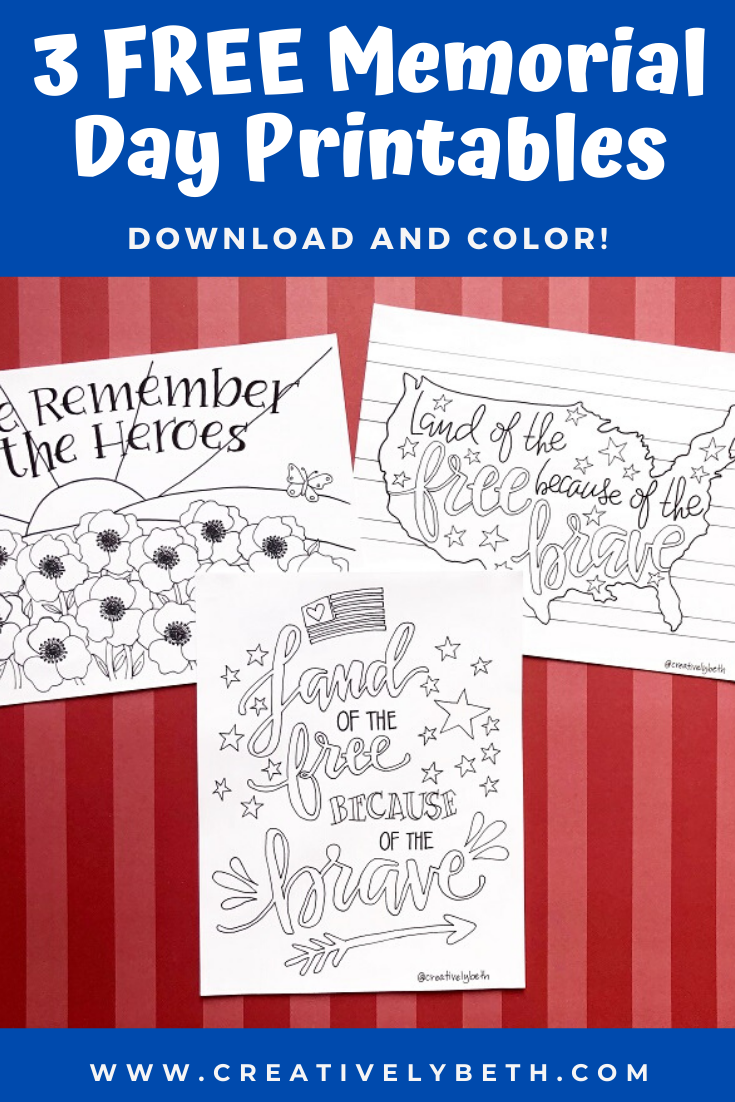 Memorial Day Printables To Download And Color The Ultimate Pinterest Party Week 299 Printables Free Kids Memorial Day Hand Lettering Printables [ 1102 x 735 Pixel ]