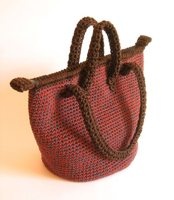 Crochet pattern for double handle bag. DIY, in one main seamless ...