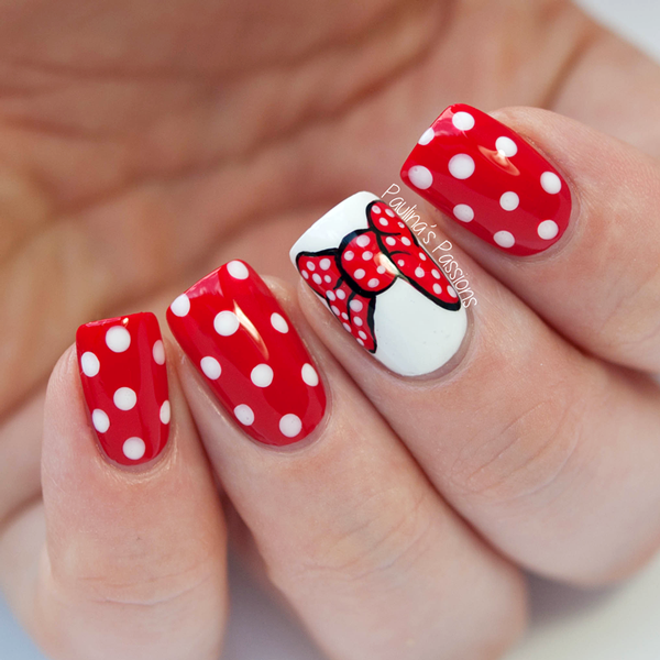 Day 23 and the theme is inspired by a movie. One of my favorite Disney  characters is Minnie Mouse, so I made cute Minnie Mouse nails with polka  dots. - Minnie-Mouse-Nails-Paulina's-Passions Miscellaneous Nails