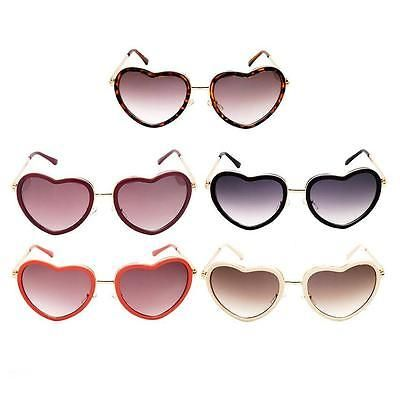 Ladies Fashion Sunglasses Big Love Heart Shape Metal Frame Lens Eyewear Eyeglass