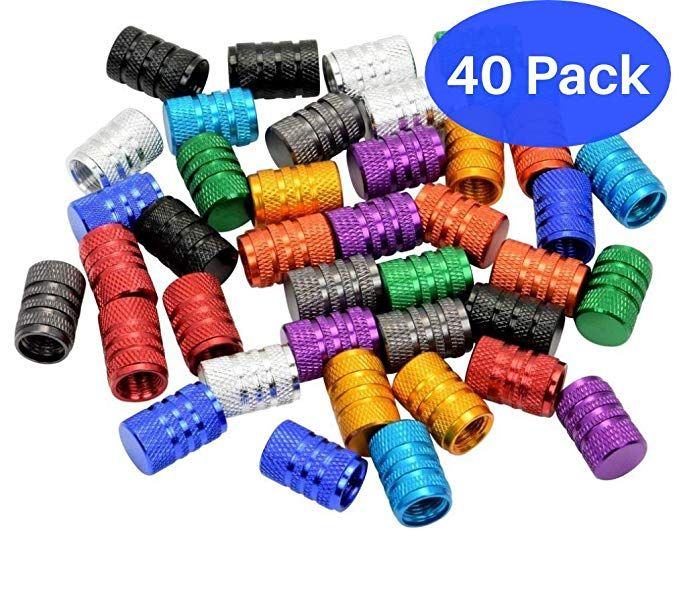 Domain Cycling 40pcs Schrader Tire Valve Caps Knurled Multi Color