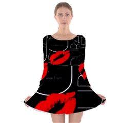 Funny Black White Red Lon Sleeve Velvet Skater Dress