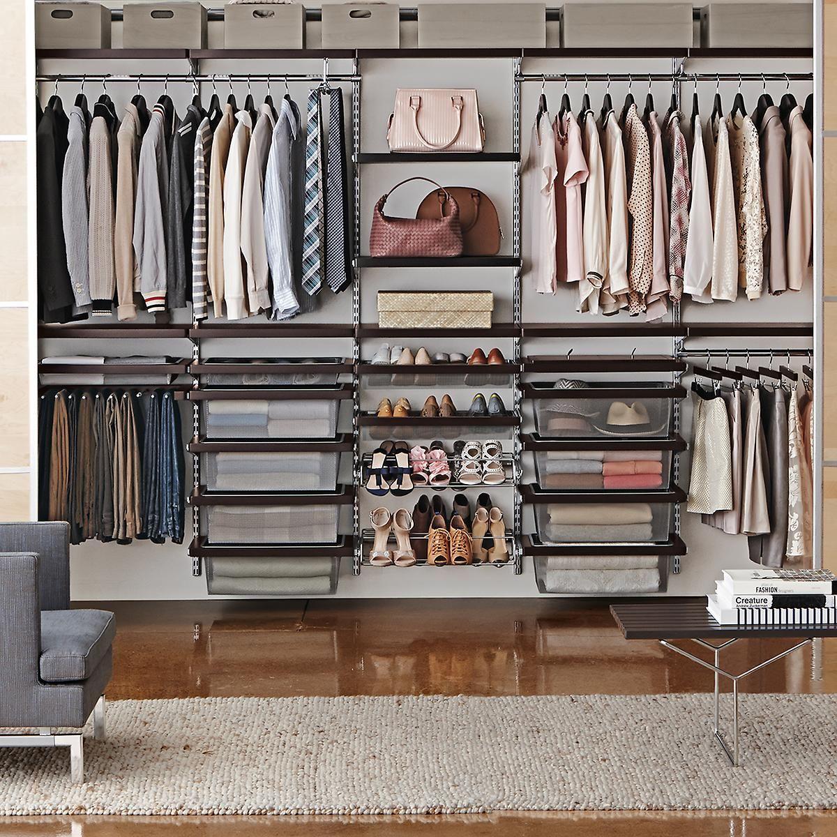 Elfa Decor 10 Walnut Platinum His Hers Closet Wall Closet Storage Bins Wall Closet Closet Storage Systems