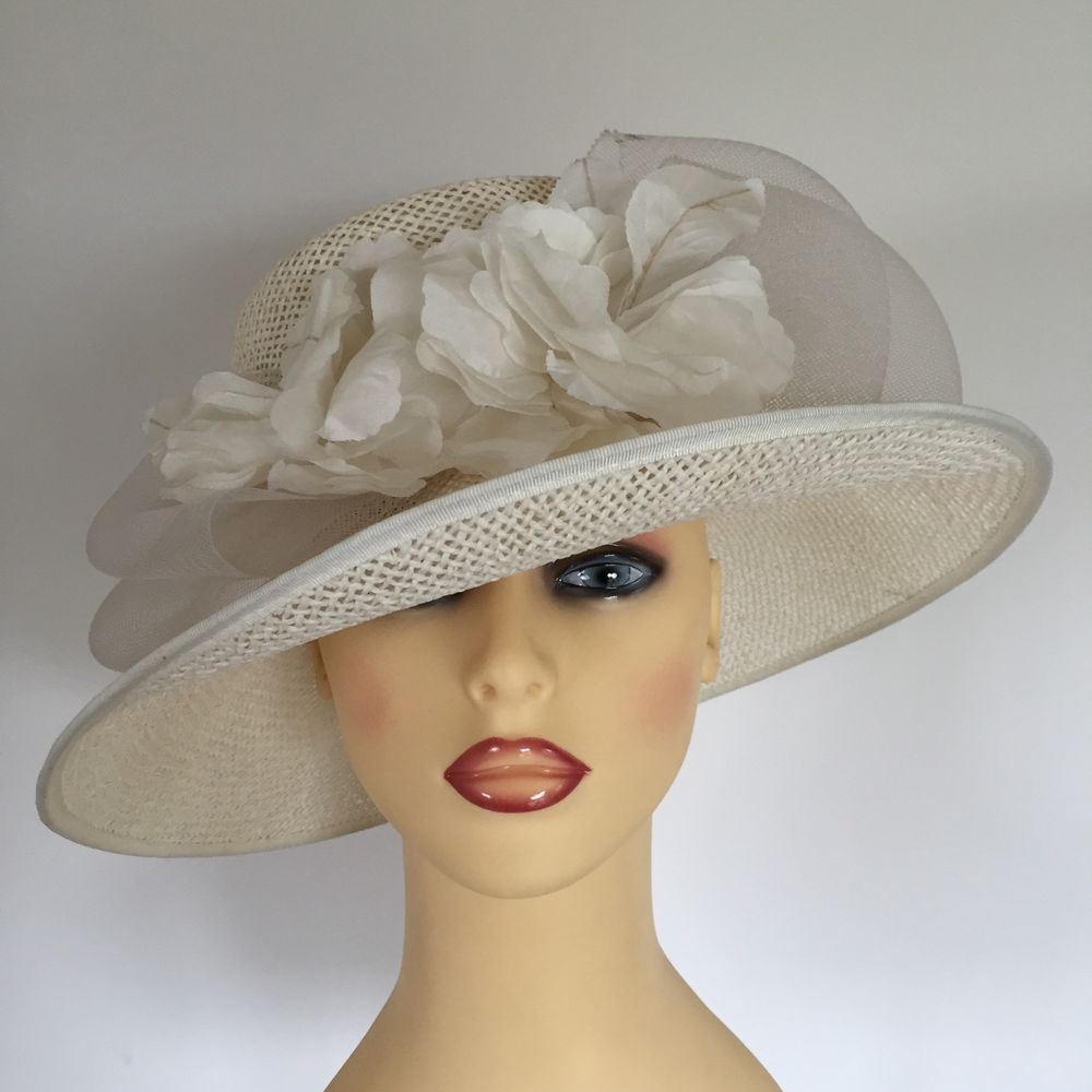 916f045c0c1d2 Ladies Wedding Hat Races Mother Bride Ascot Hat Ivory Large Flower Detail  in Clothes