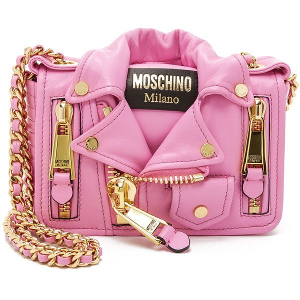 Moschino Motorcycle Bag (5.119.760 COP) ❤ liked on Polyvore featuring bags, handbags, shoulder bags, pink, leather shoulder bag, leather crossbody purse, pink leather purse, pink leather handbag and pink handbags