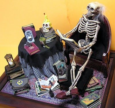 Dollhouse Miniature Seated Halloween Skeleton with a Top Hat