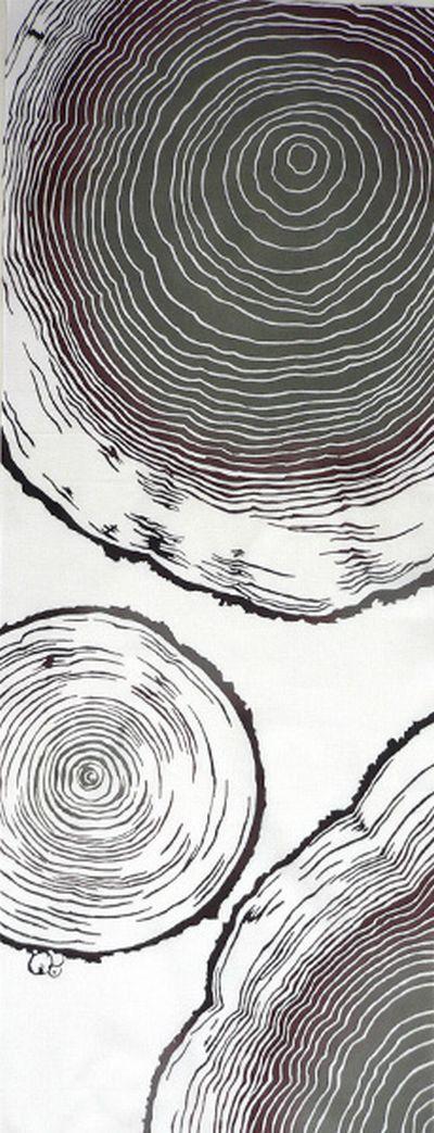 Japanese Tenugui Fabric, Annual Ring, Tree Stump, Botanical Pattern, Plant Design, Modern Art Design, Cotton Wall Art Hanging, Scarf, JapanLovelyCrafts