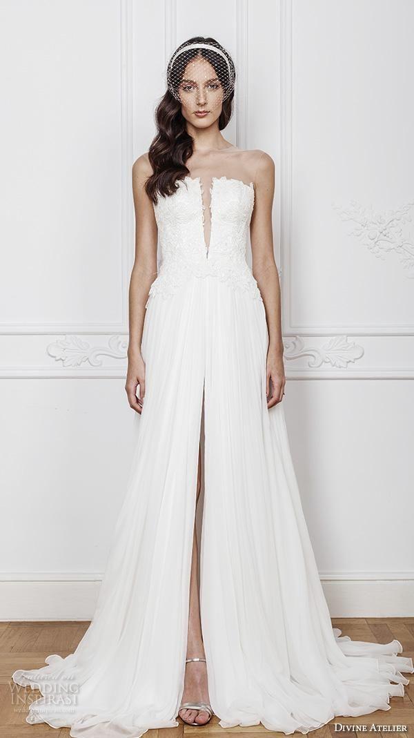 Vintage Chiffon Split Front Beach Wedding Gowns 2016 Bridal Gowns ...