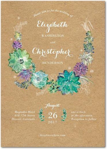 Splendid Succulent Wedding Invitation Weddings Wedding and