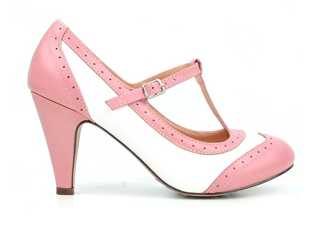 7d6fbe4977 Heels Pink Kitten Heel T-Strap Pump Round Tow Wingtip Bow Charm Vintage  Shoe Womens